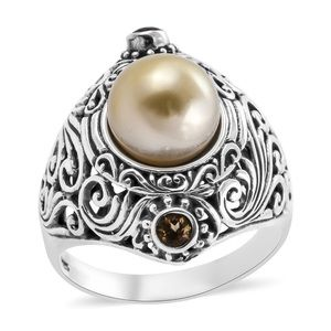 Golden South Seas Pearl Sterling Ring 925 NWTS